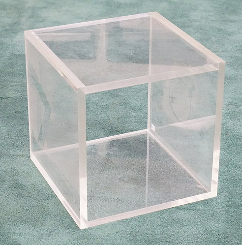 MID CENTURY MODERN LUCITE / ACRYLIC CUBE WITH 2 OPEN SIDES. 14 INCH CUBE.