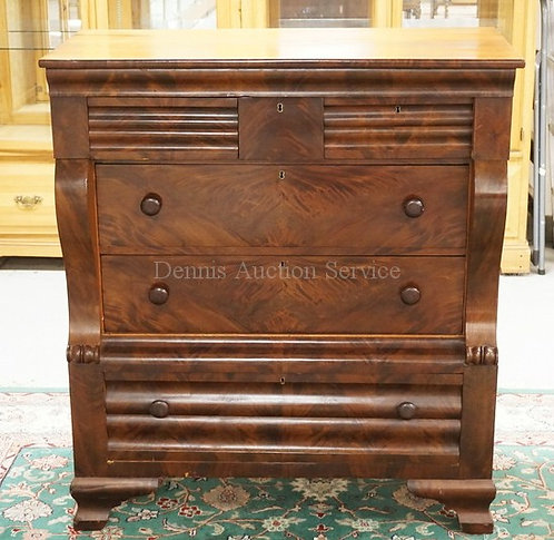 ANTIQUE EMPIRE MAHOGANY CHEST OF DRAWERS. SIGNED ON THE BACK *J. BISHOP, WEST HA