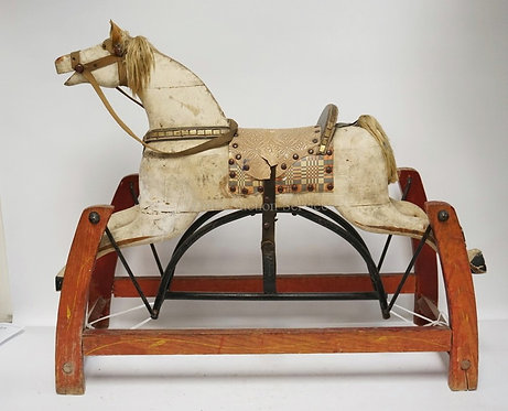 VINTAGE CARVED WOODEN CHILDS ROCKING HORSE TOY. 33 1/2 INCHES LONG. 28 3/4 INCHE