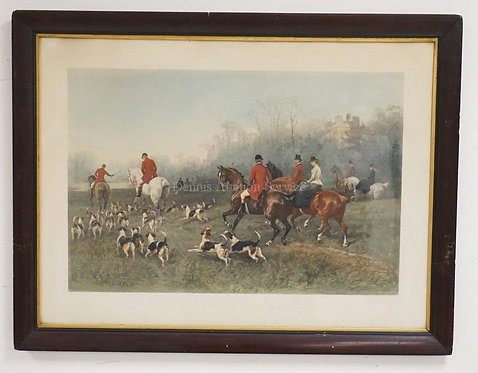FOX HUNT PRINT TITLED *THE START FOR THE MEET* AFTER HAYWOOD HARDY. 29 3/4 X 20