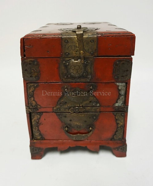 RED LACQUER ASIAN BOX W/ORNATE BRASS TRIM. LATCH IS IN THE FORM OF A TURTLE. HAS