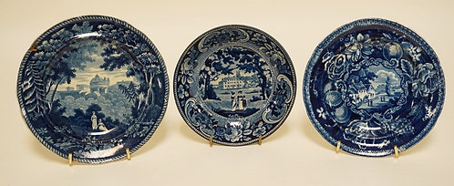 3 PIECE LOT OF ANTIQUE HISTORIC BLUE TRANSFERWARE. INCLUDES *ITALIAN SCENERY - T