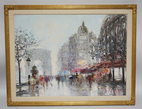OIL PAINTING ON CANVAS OF CHAMPS ELYSEES, PARIS, FRANCE. SIGNED LOWER RIGHT. 28