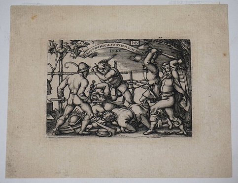 HANS SEBALD BEHAN, GERMAN 1500-1550 SMALL PRINT OF A BATTLE. IMAGE 2 7/8 IN X 2