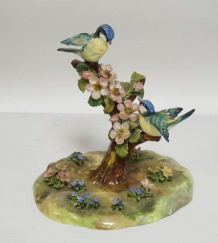 J.T. JONES CROWN STAFFORSHIRE FIGURAL PORCELAIN BIRD GROUP. 7 7/8 INCHES HIGH. S