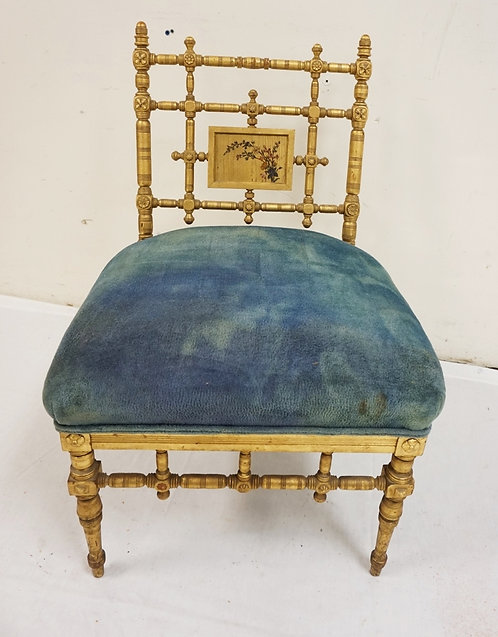 ANTIQUE GOLD GILT VANITY CHAIR WITH ASIAN STYLINGS. 29 1/2 INCHES HIGH. 19 INCHE