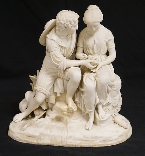 COPELAND PARIAN SCULPTURE OF A COURTING COUPLE HOLDING A NEST OF BIRDS, AS IS, A