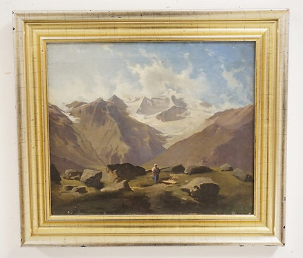 OIL PAINTING ON CANVAS OF A MOUNTAINOUS LANDSCAPE WITH A FIGURE STANDING IN THE