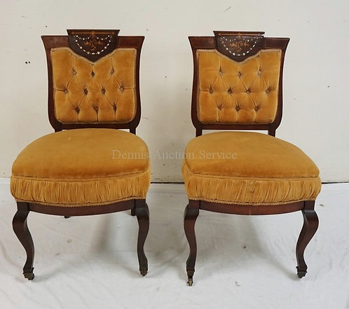PAIR OF ANTIQUE SIDE CHAIRS WITH MIXED INLAY OF WOOD AND MOTHER OF PEARL. UPHOLS