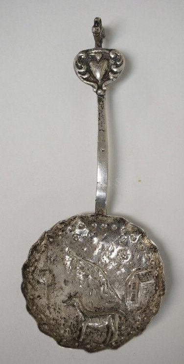 DUTCH .833 SILVER *MONKEY* SPOON, .70 TROY OZ. 5 1/4 INCHES LONG. ANCHOR AND N S