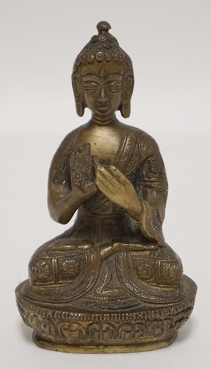 ASIAN BRONZE BUDDHA FIGURE. 6 INCHES HIGH.