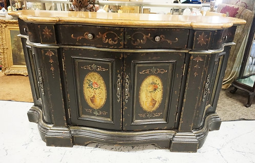 PAINT DECORATED CREDENZA W/4 DRAWERS AND 4 DOORS. 64 3/4 IN WIDE, 36 1/2 IN H, 2