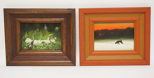 1245_LOT OF 2 WILLIAM BOYER OIL PAINTINGS ON MASONITE. LARGEST IS 7 X 5 INCHES.