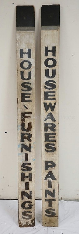 PAIR OF OLD WOODEN STORE SIGNS. *HOUSE FURNISHINGS* AND *HOUSEWARES - PAINTS*. 6