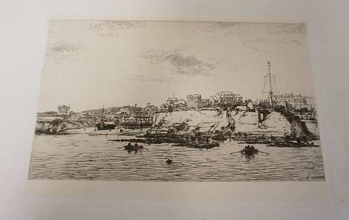 MAXIME LALANE ETCHING OF A SHORE SCENE WITH ROWBOATS IN THE WATER AND A CITY IN