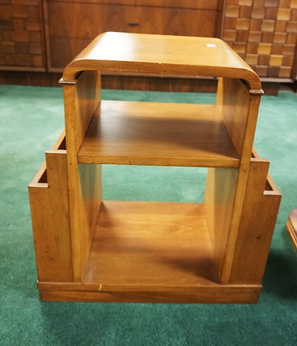 DECO END TABLE WITH MAGAZINE HOLDERS. 22 1/2 INCHES HIGH. 20 INCHES WIDE.