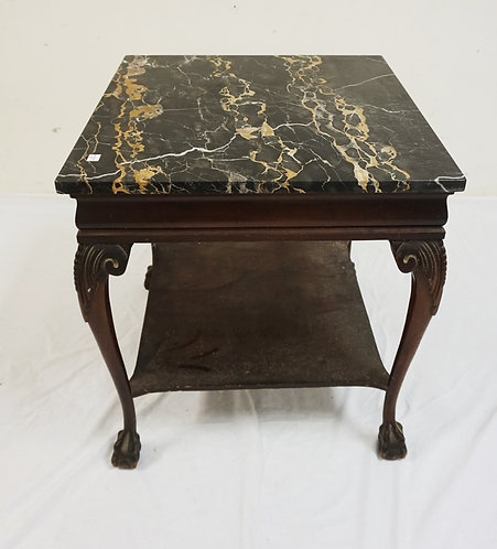 MARBLE TOP END TABLE WITH CARVED LEGS. 22 INCHES SQUARE. 25 INCHES HIGH.