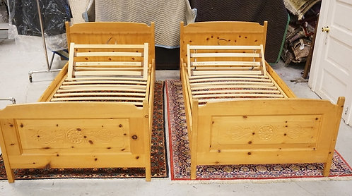 PAIR OF SWISS PINE TWIN BEDS.