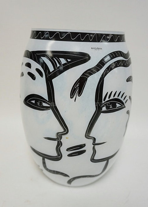 KOSTA BODA LARGE ART GLASS VASE WITH FACES, A FISH AND A SNAKE. SIGNED AND NUMBE