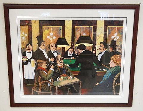 PENCIL SIGNED LIMITED EDITION PRINT OF A BAR SCENE WITH PEOPLE PLAYING BILLIARDS
