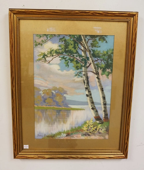 BETTY FREEMAN PASTEL DRAWING OF A SPRAWLING LAKE AND TREES. SIGNED LOWER LEFT. 1
