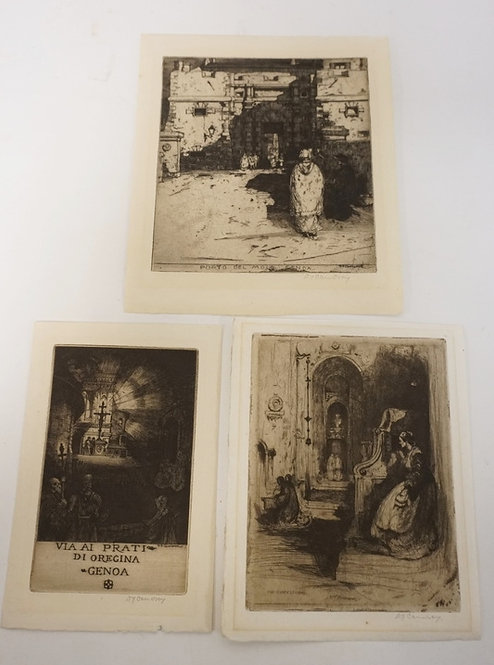 A.J. CAMERON. 3 ETCHINGS. LARGEST PLATEMARK IS 7 1/4 X 8 1/2 INCHES.