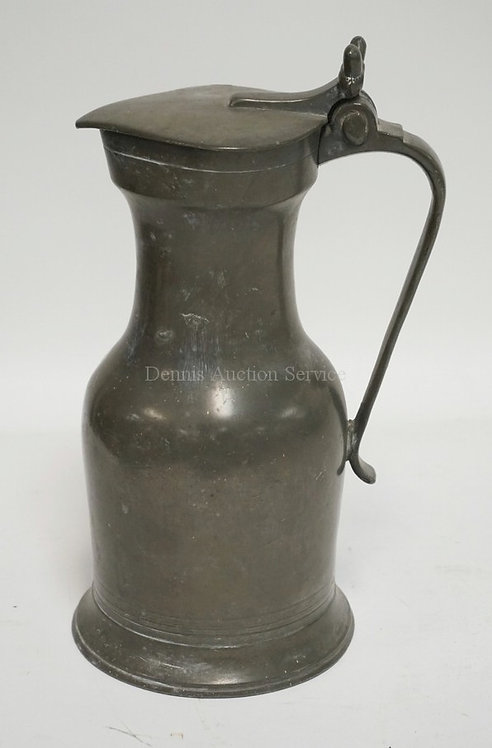 PEWTER TANKARD WITH A DOUBLE ACORN THUMB LIFT LID. 11 1/2 INCHES HIGH.