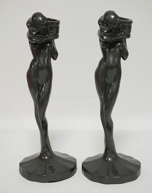 PAIR OF FIGURAL FEMALE NUDE CANDLESTICKS IN WHITE METAL BY SARSAPARILLA DECO DES