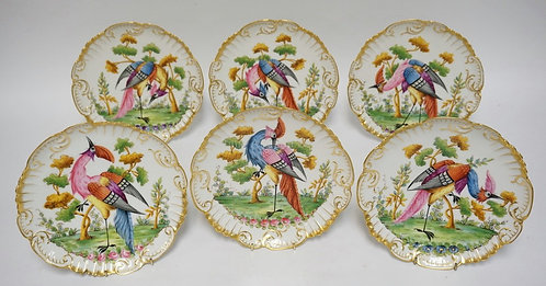 SET OF 6 EXCEPTIONAL HAND PAINTED FRENCH LIMOGES PLATES DECORATED WITH BIRDS. .