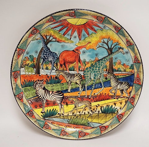 LARGE CHARGER HAND MADE AND HAND PAINTED BY NOLEEN FOR PENZO, ZIMBABWE. 18 INCHE