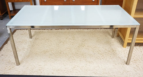 MODERN DINING TABLE WITH A FROSTED GLASS TOP. 71 X 33 1/2 INCH TOP.