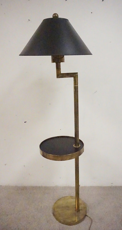 MODERN BRAS FLOOR LAMP WITH A TABLE SECTION. 59 INCHES HIGH.