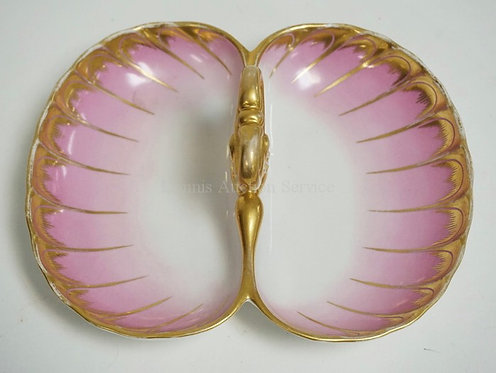 KPM DIVIDED SWEET MEAT DISH IN PINK & WHITE WITH GOLD TRIM. 9 1/4 X 7 1/2 INCHES