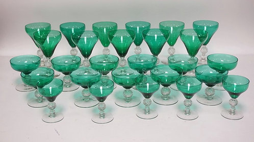27 PIECES OF NEW MARTINSVILLE GOLF BALL STEMMED BLUE/GREEN GLASSWARE. TALLEST IS