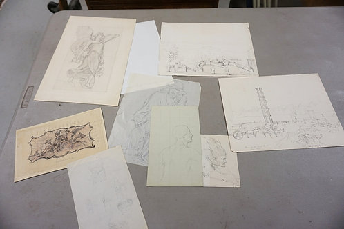 8 SKETCHES, 6 BY CHARLES HOLLOWAY AND 2 OF PARIS, 1878. LARGEST 14 IN X 9 1/2 IN