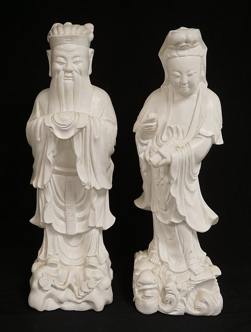 PAIR OF PLASTER ASIAN FIGURES. 24 INCHES HIGH.