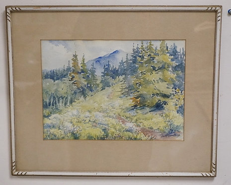 JOSEPH A.F. EVERETT. WATERCOLOR PAINTING OF A WOODED LANDSCAPE WITH MOUNTAINS IN