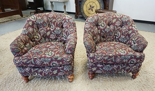 PAIR OF UPHOLSTERED ARM CHAIRS WITH TUFTED BACKS, BURGANDY FLORAL. 36 IN WIDE, 3