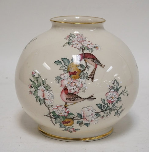 LENOX *SERENADE* BALL SHAPED VASE DECORATED WITH BIRDS. 7 INCHES HIGH.