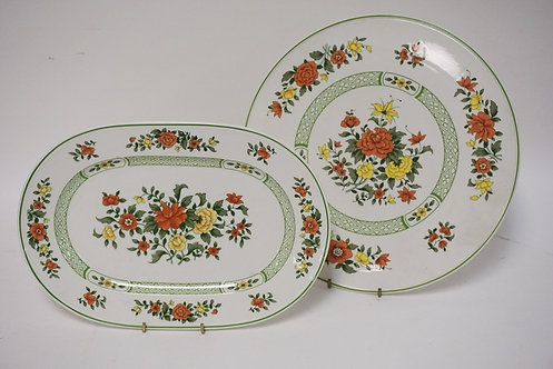 2 PC VILLORY AND BOCH *SUMMERDAY*- 12 3/4 IN CAKE PLATE AND A 13 1/8 IN OVAL PLA