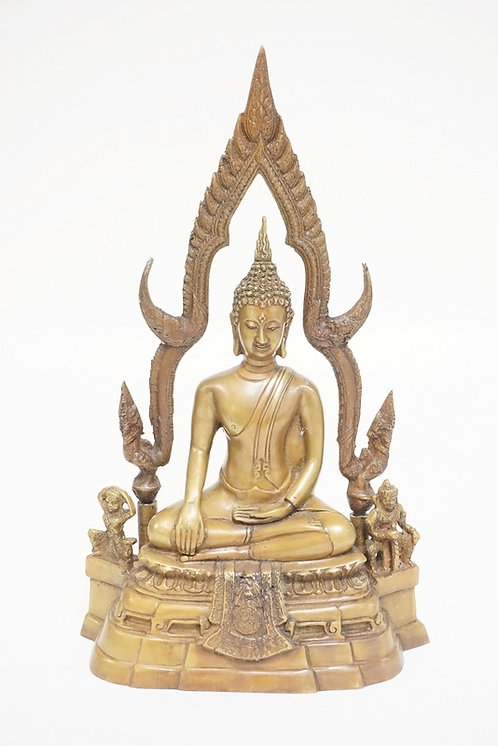 ASIAN BRONZE BUDDHA SCULPTURE MEASURING 12 1/2 INCHES HIGH.