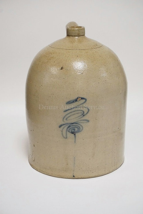 BLUE DECORATED 3 GALLON STONEWARE JUG. 14 1/4 INCHES HIGH.