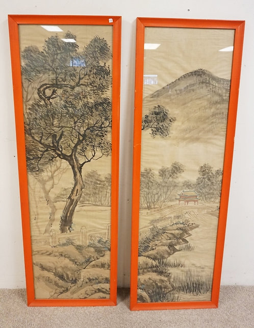 PAIR OF ASIAN HAND PAINTED SILK PANELS. 20 1/4 X 6 1/4 INCH FRAMES.