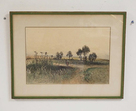 WATERCOLOR PAINTING ON A LANDSCAPE WITH 2 FIGURES ON A PATH. SIGNED LOWER LEFT A