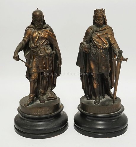PAIR OF WHITE METAL FIGURES *CLOVIS* AND *CHARLEMAGNE*. 13 1/4 INCHES HIGH.