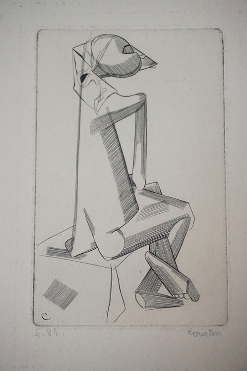 PIERRE COURTIN PENCIL SIGNED ETCHING. 2 3/4 X 4 5/16 INCH IMPRESSION.