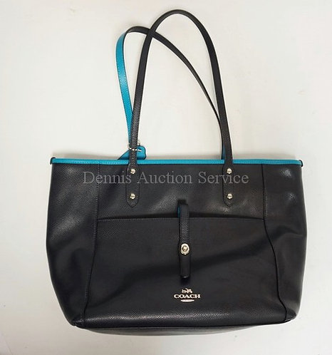 GENUINE COACH HANDBAG WITH MATCHING CLUTCH. NAVY & TURQUOISE BLUE. APPROX 12 X 1