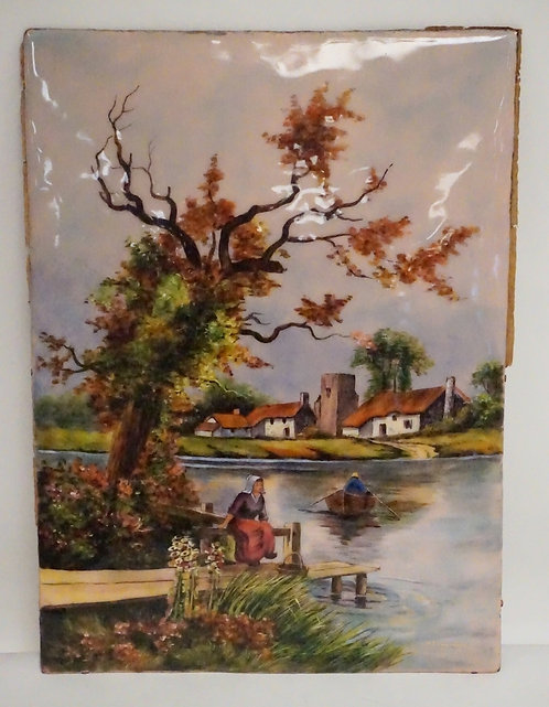 F.J. CARMONA ENAMEL ON COPPER SCENE OF PEOPLE AT A LAKE WITH A ROWBOAT. CORRAGES