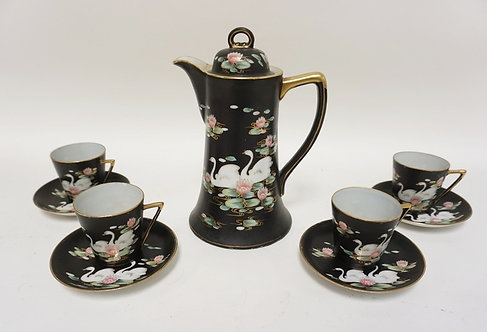 HAND PAINTED CHOCOLATE POT DECORATED WITH SWANS AND LILY PADS. *MM* JAPAN. CUPS
