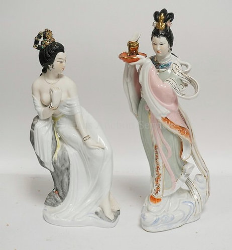 LOT OF 2 ASIAN PORCELAIN FIGURES. TALLEST IS 13 1/2 INCHES.